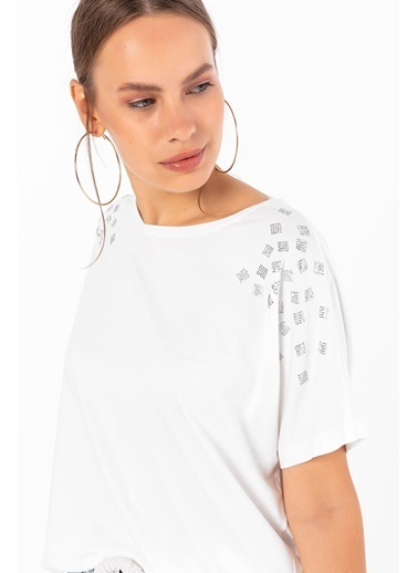 Emjey Omzu Kare Taşlı T-Shirt Beyaz